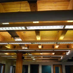 Lighting accentuates the Timber Framing