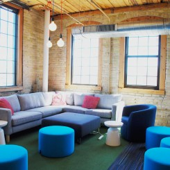 Natural lighting brightens collaboration areas