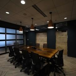 Conference room with garage door down