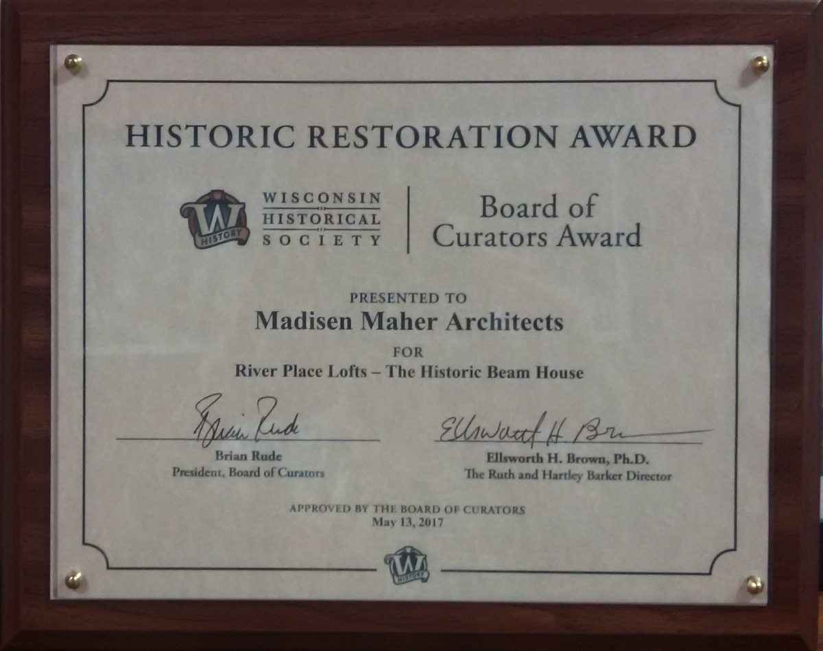 MMA accepts Historic Restoration Award from Wisconsin Historical Society