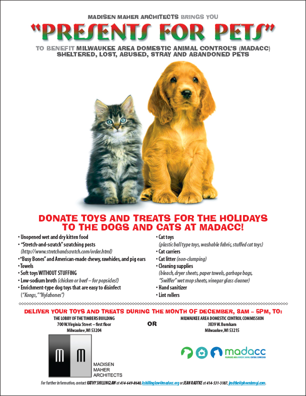 "THIRD ANNUAL ""PRESENTS FOR PETS"" BENEFITS MADACC"